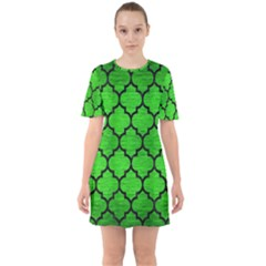 Tile1 Black Marble & Green Brushed Metal (r) Sixties Short Sleeve Mini Dress