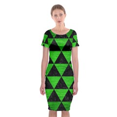 Triangle3 Black Marble & Green Brushed Metal Classic Short Sleeve Midi Dress by trendistuff