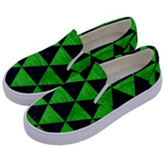 Triangle3 Black Marble & Green Brushed Metal Kids  Canvas Slip Ons by trendistuff