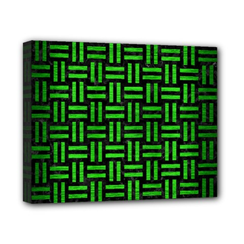 Woven1 Black Marble & Green Brushed Metal Canvas 10  X 8  by trendistuff