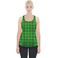 Woven1 Black Marble & Green Brushed Metal (r) Piece Up Tank Top