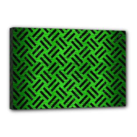 Woven2 Black Marble & Green Brushed Metal (r) Canvas 18  X 12  by trendistuff