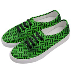 Woven2 Black Marble & Green Brushed Metal (r) Women s Classic Low Top Sneakers by trendistuff