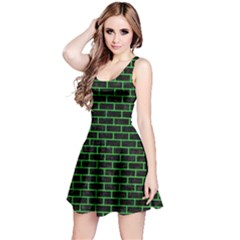 Brick1 Black Marble & Green Colored Pencil Reversible Sleeveless Dress