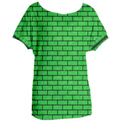 Brick1 Black Marble & Green Colored Pencil (r) Women s Oversized Tee