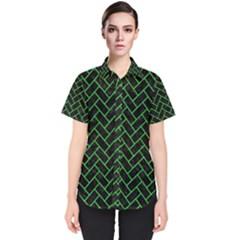 Brick2 Black Marble & Green Colored Pencil Women s Short Sleeve Shirt