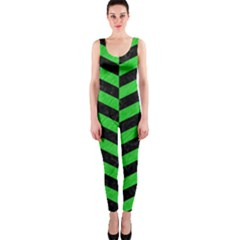 Chevron1 Black Marble & Green Colored Pencil Onepiece Catsuit