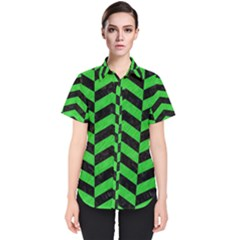 Chevron2 Black Marble & Green Colored Pencil Women s Short Sleeve Shirt