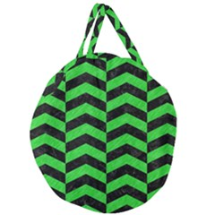 Chevron2 Black Marble & Green Colored Pencil Giant Round Zipper Tote by trendistuff