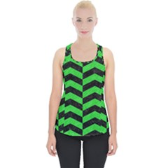 Chevron2 Black Marble & Green Colored Pencil Piece Up Tank Top