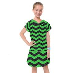 Chevron3 Black Marble & Green Colored Pencil Kids  Drop Waist Dress