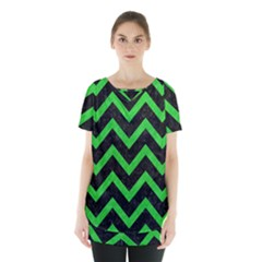Chevron9 Black Marble & Green Colored Pencil Skirt Hem Sports Top by trendistuff