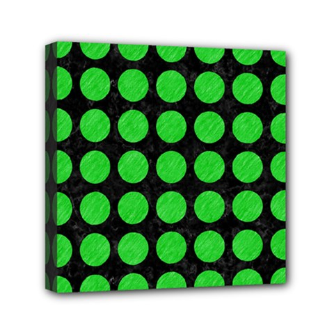 Circles1 Black Marble & Green Colored Pencil Mini Canvas 6  X 6  by trendistuff