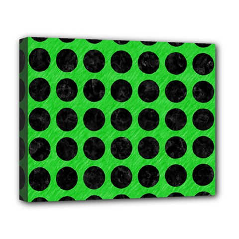 Circles1 Black Marble & Green Colored Pencil (r) Deluxe Canvas 20  X 16   by trendistuff