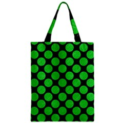 Circles2 Black Marble & Green Colored Pencil Zipper Classic Tote Bag by trendistuff