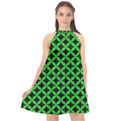 Circles3 Black Marble & Green Colored Pencil Halter Neckline Chiffon Dress