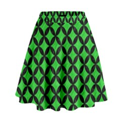 Circles3 Black Marble & Green Colored Pencil (r) High Waist Skirt by trendistuff