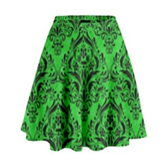 Damask1 Black Marble & Green Colored Pencil (r) High Waist Skirt by trendistuff