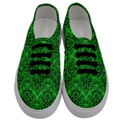 Damask1 Black Marble & Green Colored Pencil (r) Men s Classic Low Top Sneakers