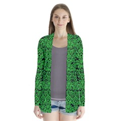 Damask2 Black Marble & Green Colored Pencil Drape Collar Cardigan