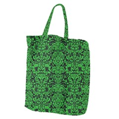 Damask2 Black Marble & Green Colored Pencil Giant Grocery Zipper Tote by trendistuff