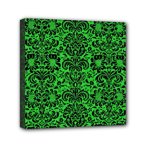 Damask2 Black Marble & Green Colored Pencil (r) Mini Canvas 6  X 6  by trendistuff