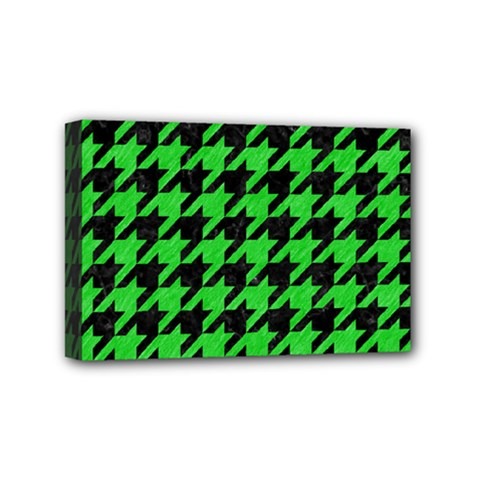 Houndstooth1 Black Marble & Green Colored Pencil Mini Canvas 6  X 4  by trendistuff