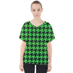 Houndstooth1 Black Marble & Green Colored Pencil V Neck Dolman Drape Top