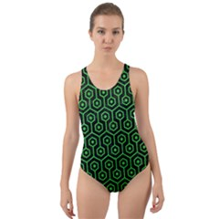Hexagon1 Black Marble & Green Colored Pencil Cut Out Back One Piece Swimsuit
