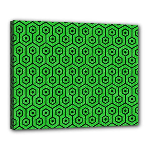 Hexagon1 Black Marble & Green Colored Pencil (r) Canvas 20  X 16  by trendistuff