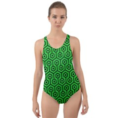 Hexagon1 Black Marble & Green Colored Pencil (r) Cut Out Back One Piece Swimsuit