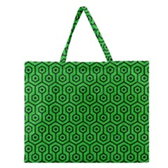 Hexagon1 Black Marble & Green Colored Pencil (r) Zipper Large Tote Bag by trendistuff