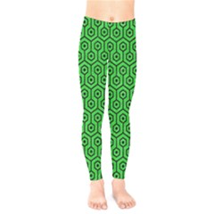 Hexagon1 Black Marble & Green Colored Pencil (r) Kids  Legging by trendistuff