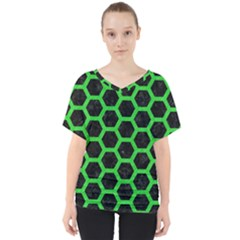 Hexagon2 Black Marble & Green Colored Pencil V Neck Dolman Drape Top