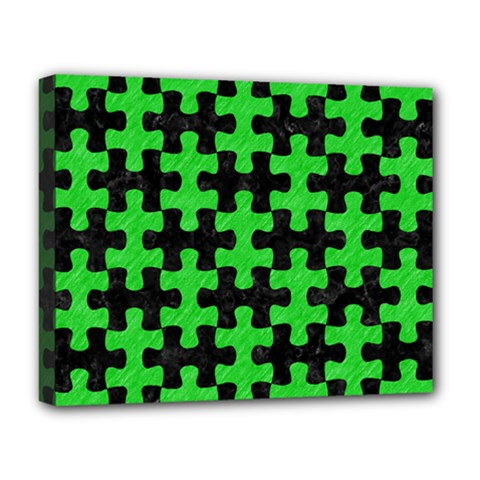 Puzzle1 Black Marble & Green Colored Pencil Deluxe Canvas 20  X 16   by trendistuff