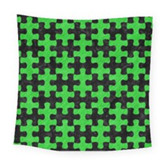 Puzzle1 Black Marble & Green Colored Pencil Square Tapestry (large)
