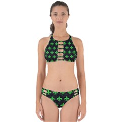 Royal1 Black Marble & Green Colored Pencil (r) Perfectly Cut Out Bikini Set