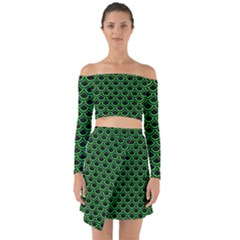 Scales2 Black Marble & Green Colored Pencil Off Shoulder Top With Skirt Set