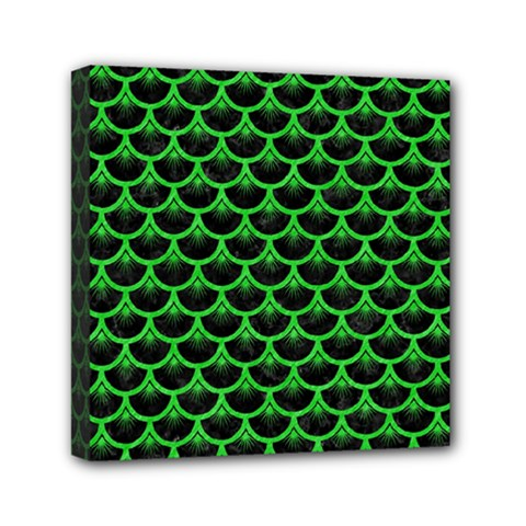 Scales3 Black Marble & Green Colored Pencil Mini Canvas 6  X 6  by trendistuff