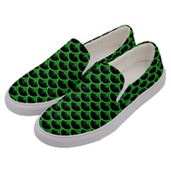 Scales3 Black Marble & Green Colored Pencil Men s Canvas Slip Ons by trendistuff