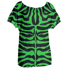 Skin2 Black Marble & Green Colored Pencil Women s Oversized Tee