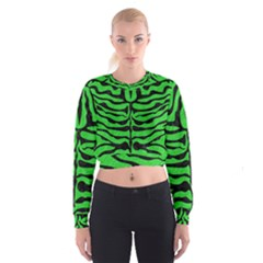 Skin2 Black Marble & Green Colored Pencil (r) Cropped Sweatshirt
