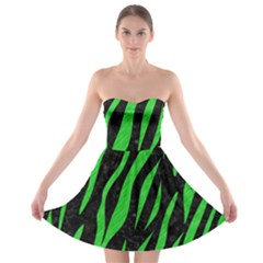 Skin3 Black Marble & Green Colored Pencil Strapless Bra Top Dress