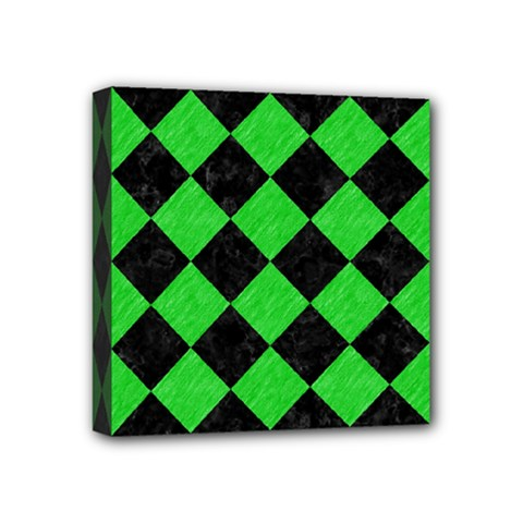 Square2 Black Marble & Green Colored Pencil Mini Canvas 4  X 4  by trendistuff