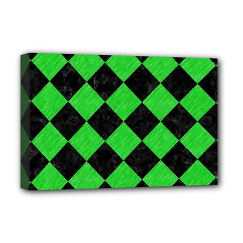 Square2 Black Marble & Green Colored Pencil Deluxe Canvas 18  X 12   by trendistuff