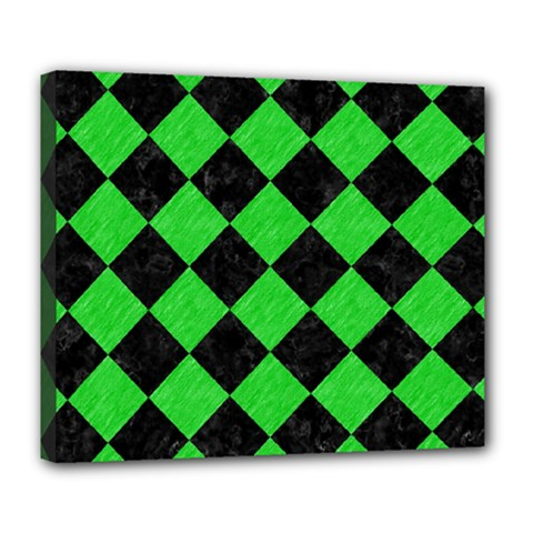 Square2 Black Marble & Green Colored Pencil Deluxe Canvas 24  X 20   by trendistuff