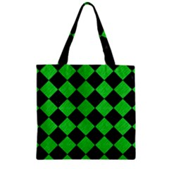 Square2 Black Marble & Green Colored Pencil Zipper Grocery Tote Bag by trendistuff
