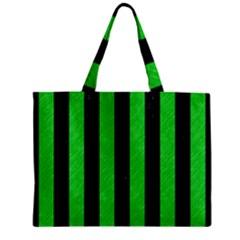 Stripes1 Black Marble & Green Colored Pencil Zipper Mini Tote Bag by trendistuff