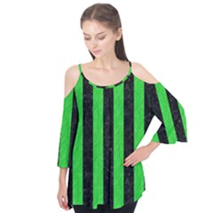 Stripes1 Black Marble & Green Colored Pencil Flutter Tees by trendistuff