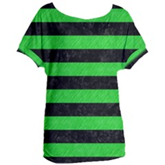 Stripes2 Black Marble & Green Colored Pencil Women s Oversized Tee